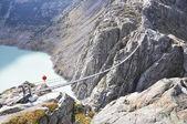 Trift Bridge, the longest 170m pedestrian-only suspension bridge in the Alps. Switzerland — Stock Photo