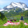 Wine and vegetables served at a picnic in Alpine meadow. Switzer — Foto de Stock