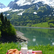 Milk, cheese and bread served at a picnic in an Alpine meadow, S — Stock Photo