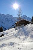 Mürren, berömda schweiziska skidorten — Stockfoto