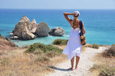 Girl walking to the beach at the Aphrodite birthplace, Cyprus — Stock Photo