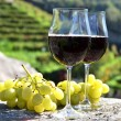 Pair of wineglasses and grapes. Bellinzona, Switzerland — Stock Photo