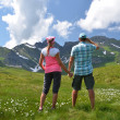Travelers in an Alpine meadow — Stock Photo