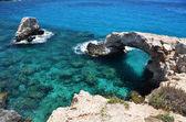 Skalní oblouk. ayia napa, kypr — Stock fotografie