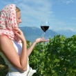 Woman tasting red wine in Lavaux, Switzerland — Stock Photo #29622355