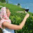 Woman tasting red wine in Lavaux, Switzerland — Stock Photo #29622367