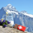 Swiss chocolate and jug of milk against mountain peak. Switzerla — Stock Photo #30029355