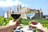 Two hands holding wineglasses — Stock Photo