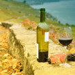 Glass of red wine on the terrace vineyard in Lavaux region, Switzerland — Stock Photo