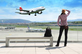 Girl in the airport — Stock Photo
