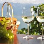 Wine and grapes against Geneva lake. Lavaux region, Switzerland — Stock Photo #32347861