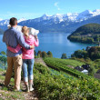 Stock Photo: Travelers looking to map. Switzerland