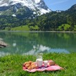Milk, cheese and bread served at picnic in Alpine meadow — Stock Photo #33449673