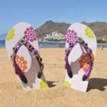 Flip-flops on the Teresitas beach. — Stock Photo