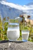 Jug of milk against herd of cows. Jungfrau region, Switzerland — Stock Photo