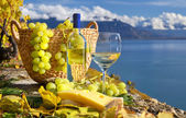 White wine and basket of grapes. Lavaux region, Switzerland — Stock Photo
