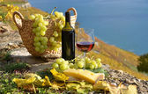 Red wine and grapes on the terrace of vineyard — Stock Photo