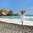 Stock Photo: Girl looking to senear Aphrodite birthplace, Cyprus