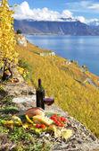 Red wine, cheese, bread and cherry tomatos. Lavaux, Switzerland — Stock Photo