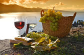 Wine and grapes on the terrace of vineyard — Stock Photo
