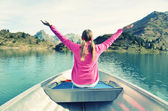 Girl on the boat — Stock Photo