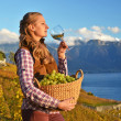 Girl with a basket full of grapes. Lavaux region, Switzerland — Stock Photo #37138727