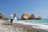 Couple on the beach near Aphrodite birthplace, Cyprus — Stock Photo