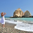 Stock Photo: Girl on beach near Aphrodite birthplace, Cyprus