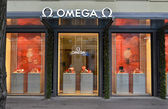 Omega shop, well known for its luxury watches — Stock Photo
