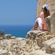 Stock Photo: Girl and ancient ruines