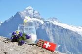Chocolate and milk against mountain peak — Stock Photo