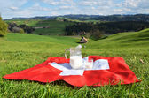Jug of milk on the Swiss flag. — Stock Photo