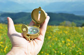 Compass in the hand against Alpine meadow — Stock Photo