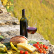 Red wine, cheese, bread and cherry tomatoes — Stock Photo
