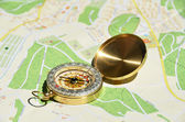 Compass on a map — Stock fotografie