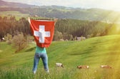 Girl holding Swiss flag — ストック写真