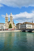 Zurich across Limmat river — Stock Photo