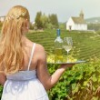Girl holding wine and grapes — Stock Photo #49901111