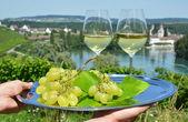 Wineglasses against vineyards — Stock Photo