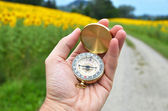 Kompass i hand — Stockfoto