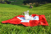 Jug of milk on the Swiss flag — Stock fotografie