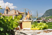 Wine and grapes in Chateau de Aigle, — Stock Photo