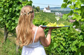 Girl holding wine and grapes — Foto de Stock