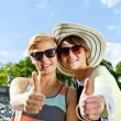 Two  beautiful woman with sunglasses on natural background - Stock Photo