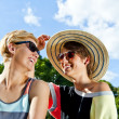 Travel two woman and sideseeing foutain with big smile - ストック写真