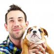 Man with his dog on white background — Stock Photo