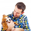 Royalty-Free Stock Photo: Man with his dog on white background