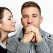 Stock Photo: Woman kissing a man