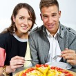 Couple on date in restaurant man and woman — Stock Photo #16345179