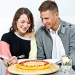 Foto Stock: Couple on date in restaurant man and woman